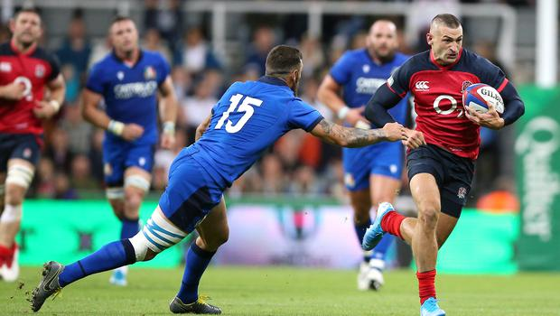 Jonny May caused Italy plenty of problems with an impressive display (Nigel French/PA)