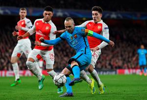 LONDON, ENGLAND - FEBRUARY 23:  Andres Iniesta of Barcelona takes a shot on goal during the UEFA Champions League round of 16, first leg match between Arsenal FC and FC Barcelona at the Emirates Stadium on February 23, 2016 in London, United Kingdom.  (Photo by Shaun Botterill/Getty Images)