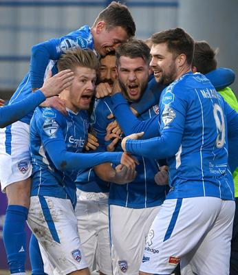 Coleraine's Stephen Lowry roars with delight after scoring the winning goal against Crusaders (Inpho/Stephen Hamilton)