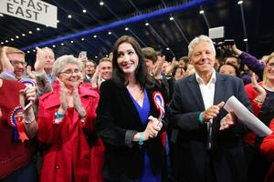Press Eye - Belfast - Northern Ireland - 8th June 2017 -  Westminster General Election 2017 Emma Little-Pengelly with Peter Robinson  pictured at the election count at Titanic Exhibition Centre Belfast for Belfast South, Belfast West, Belfast East and Belfast North. Photo by Kelvin Boyes / Press Eye.