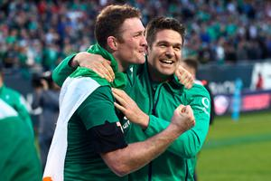 CHICAGO, IL - NOVEMBER 05:  Donnacha Ryan (L) of Ireland celebrates following his team's 40-29 victory during the international match between Ireland and New Zealand at Soldier Field on November 5, 2016 in Chicago, United States.  (Photo by Phil Walter/Getty Images)