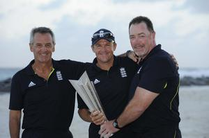 Andy Flower, centre, led England to World T20 glory in 2010 (Rebecca Naden/PA)