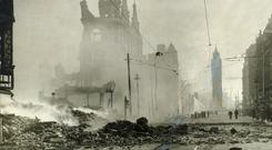 In ruins: High Street in Belfast after being blitzed in 1941