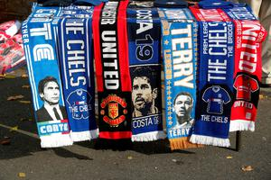 "Chelsea and Manchester United scarves on sale outside Stamford Bridge before the Premier League match at Stamford Bridge, London. PRESS ASSOCIATION Photo. Picture date: Sunday October 23, 2016. See PA story SOCCER Chelsea. Photo credit should read: Nick Potts/PA Wire. RESTRICTIONS: EDITORIAL USE ONLY No use with unauthorised audio, video, data, fixture lists, club/league logos or ""live"" services. Online in-match use limited to 75 images, no video emulation. No use in betting, games or single club/league/player publications."