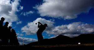NEWCASTLE, NORTHERN IRELAND - MAY 29:  Felipe Aguilar of Chile on the 8th tee during the second Round of the Dubai Duty Free Irish Open hosted by the Rory Foundation at Royal County Down Golf Club on May 29, 2015 in Newcastle, Northern Ireland.  (Photo by Ross Kinnaird/Getty Images)