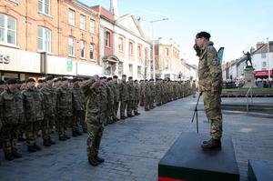 Press Eye - Belfast - Northern Ireland - 9th March 2018   There was synchronised sound in Lisburn city centre today where a Homecoming Parade of the 2 Rifles took place.Ê The Parade followed a six-month tour of Iraq.Ê There was an Inspection and Salute in the city centre in the presence of the HRH the Earl of Wessex, Royal Colonel of the 2 Rifles. Ê The Council was delighted with the Royal Visit, which is the first royal visit to Lisburn & Castlereagh City Council. Ê HRH the Earl of Wessex, Royal Colonel of the 2 Rifles pictured in Lisburn City Centre during the Inspection and Salute.  Photo by Kelvin Boyes / Press Eye.