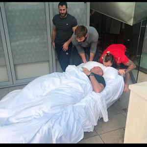 Rory Best being wheeled out of a hotel in a hospital bed after a 20 hr drinking session with Ian Henderson. Pictures from James Haskell facebook page for his book What a Flanker.