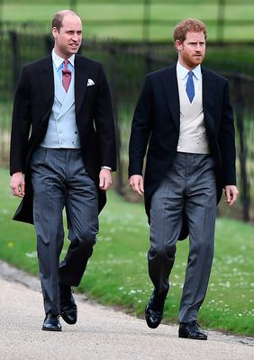 Britain's Prince Harry (R) and Britain's Prince William, Duke of Cambridge walk to the church for the wedding of Pippa Middleton and James Matthews at St Mark's Church in Englefield, west of London, on May 20, 2017. Pippa Middleton hit the headlines with a figure-hugging outfit at her sister Kate's wedding to Prince William but now the world-famous bridesmaid is becoming a bride herself. Once again, all eyes will be on her dress as the 33-year-old marries financier James Matthews on Saturday at a lavish society wedding where William and Kate's children will play starring roles. / AFP PHOTO / POOL / Justin TALLISJUSTIN TALLIS/AFP/Getty Images
