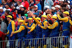 European fans during day one of the 41st Ryder Cup at Hazeltine National Golf Club in Chaska, Minnesota, USA.