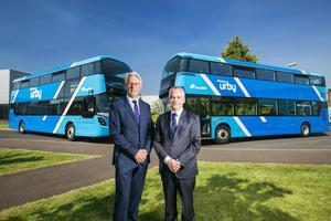 Mark Nodder, Wrights Group Chairman and Chief Executive and Chris Conway, Translink Group Chief Executive with the new buses. Picture by Brian Morrison.