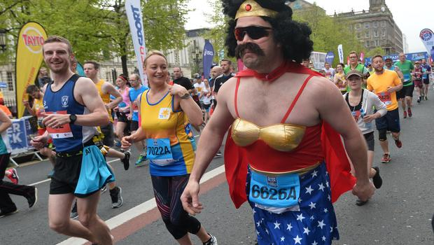 Pacemaker Press 7/5/2018  Runners take part in the  River Rock Belfast City Marathon 2018 , on May Bank holiday Monday, with thousands of participants taking part in the Marathon , relay and fun runners. Pic Colm Lenaghan/Pacemaker