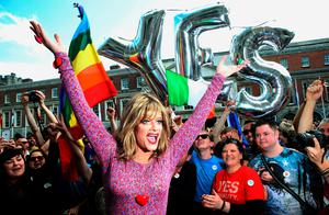 Drag queen and gay rights activist Rory O'Neill, known by his stage name as Panti Bliss arrives at the Central Count Centre in Dublin Castle, Dublin, as votes continue to be counted in the referendum on same-sex marriage.