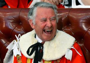 LONDON, ENGLAND - MAY 08: Former Liberal Party leader David Steel reacts in the House of Lords ahead of the State Opening of Parliament on May 8, 2013 in London, England. Queen Elizabeth II will unveil the coalition government's legislative programme in a speech delivered to Members of Parliament and Peers in The House of Lords today. Proposed legislation is expected to be introduced on toughening immigration regulations, capping social care costs in England and setting a single state pension rate of 144 GBP per week.  (Photo by Toby Melville - WPA Pool/Getty Images)