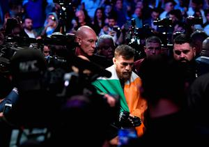 LAS VEGAS, NV - OCTOBER 06:  Conor McGregor of Ireland enters the arena before competing against Khabib Nurmagomedov of Russia in their UFC lightweight championship bout during the UFC 229 event inside T-Mobile Arena on October 6, 2018 in Las Vegas, Nevada.  (Photo by Harry How/Getty Images)