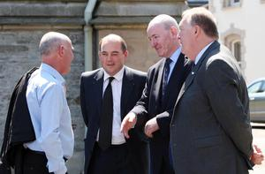 ©/Lorcan Doherty Press Eye - 11th  June 2015.  The funeral of Paul McCauley, who died nine years after he was severely beaten in a sectarian attack in Derry, St. Columb's Church, Waterside.  Ben Wallace, Permanent Under Secretary, NIO, Mark Durkan, MP and Pat Ramsey, MLA.