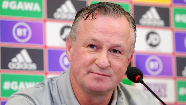 Northern Ireland press call at National Stadium Belfast. Manager Michael O'Neill. Picture by Jonathan Porter / Press Eye