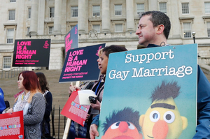 Members of the LGBT community and their allies were present at Parliament Buildings to show support to the parties and individual members of the Assembly who intended to vote in favour of the motion