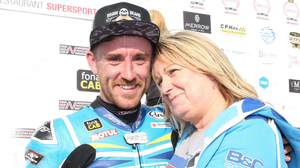 In front: Lee Johnston celebrates with mother Audrey