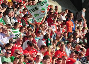 PACEMAKER BELFAST   17/07/2013 Cliftonville v Celtic Champions League football at Solitude in Belfast. Cliftonville's fans pictured during this evenings game in North Belfast. Picture By: Arthur Allison/Pacemaker Press