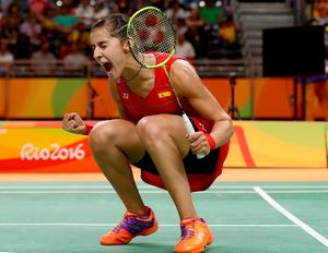 RIO DE JANEIRO, BRAZIL - AUGUST 16:  Carolina Marin of Spain celebrates her match win over Ji Hyun Sung of Korea during the Women's Quarterfinal match on Day 11 of the Rio 2016 Olympic Games at Riocentro - Pavilion 4 on August 16, 2016 in Rio de Janeiro, Brazil.  (Photo by Elsa/Getty Images) *** BESTPIX ***