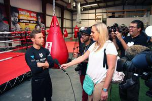 Press Eye - Belfast -  Northern Ireland - 15th July 2015 - Boxer Carl Frampton (left) is pictured addressing media during an open training session in El Paso, Texas befor  defending his IBF World title against Alejandro Gonzalez Jr on Saturday evening.  Picture by Jorge Salgado / Press Eye