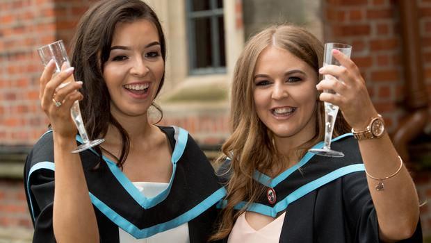 Pictured (L-R) are friends Andreena McCurdy and Stephanie Burton, who both graduated with a degree in Nursing from the School of Nursing and Midwifery at Queen's University Belfast.