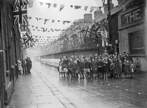 World War 2:  VE - Day.  Decorations on North Boundary Street, Shankill Road, Belfast.  (08/05/1945)
