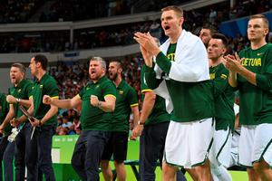 Lithuania players celebrate a point during a Men's round Group B basketball match between Lithuania and Argentina at the Carioca Arena 1 in Rio de Janeiro on August 11, 2016 during the Rio 2016 Olympic Games. / AFP PHOTO / Mark RALSTONMARK RALSTON/AFP/Getty Images