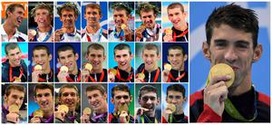 Combination picture made on August 11, 2016 shows US swimmer Michael Phelps with the 22 gold medals he won at the Olympic Games in Athens 2004, Beijing 2008, London 2012 and Rio 2016. / AFP PHOTO / STFSTF/AFP/Getty Images