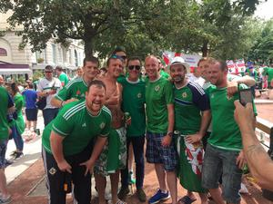 Jimmy Nesbitt mingles among fans in Lyon. Credit: Green and White Army Caravan in France