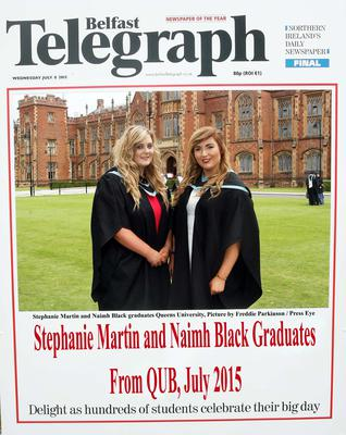 Mandatory Credit - Picture by Freddie Parkinson/Press Eye ? Wednesday 8th July 2015 Graduations Queen University Belfast. Sian Connolly from Lisburn and Melanie Duke from Portadown graduated at Queens University Belfast in Nursing.