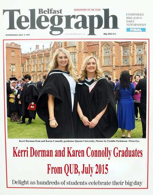 Mandatory Credit - Picture by Freddie Parkinson/Press Eye ? Wednesday 8th July 2015 Graduations Queen University Belfast. Kerri Dorman from Groomsport and Karen Connolly from Newtownabbey graduated at Queens University Belfast in Civil Engineering.