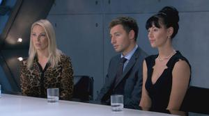 BBC undated videograb image of (left to right) Francesca MacDuff-Varley,  Tim Stillwell and Rebecca Slater in the Boardroom before Stillwell becomes the latest contestant to be fired from this year's BBC programme