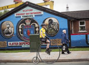 Londoner Joff Summerfield is pictured riding the Stage 1 Time Trial of The Giro d'Italia Big Start in Belfast, as part of his challenge to ride the routes of the famous Spring Classics on his penny farthing bicycle