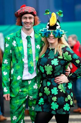 Ireland fans Chris Barr, 31 and Elaine Barr, 39 before the RBS 6 Nations match at BT Murrayfield Stadium, Edinburgh. PRESS ASSOCIATION Photo. Picture date: Saturday February 4, 2017. See PA story RUGBYU Scotland. Photo credit should read: Owen Humphreys/PA Wire. RESTRICTIONS: Editorial use only, No commercial use without prior permission.