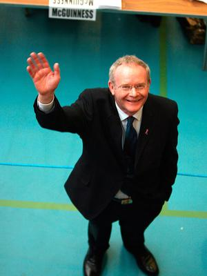 File photo dated 08/03/07 of Martin McGuinness of Sinn Fein standing beside a table where his votes are being counted after the Northern Ireland Assembly election in Ballymena, Co Antrim. Julien Behal/PA Wire