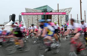 The Gran Fondo Giro d'Italia as it takes off from the Titanic Building and passes through the streets and roads of Northern Ireland on June 05 2016 in Belfast , Northern Ireland ( Photo by Kevin Scott / Presseye)