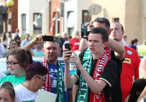 ?Press Eye Ltd Northern Ireland - 17th July 2013 Mandatory Credit - Picture by Darren Kidd /Presseye.com    Champions League, Cliftonville v Celtic.  Cliftonville v Celtic,  Champions League 2nd Qual, 1st Leg game at Solitude, Belfast. Fans ahead of the game.