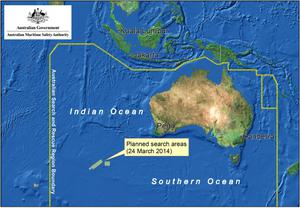 Satellite image from the Australian Maritime Safety Authority shows a map of the planned search area for missing Malaysian Airlines Flight MH370 on March 24, 2014