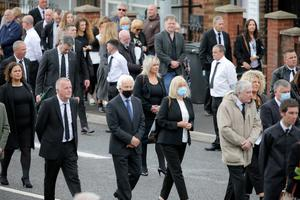 Michelle O'Neill at the funeral of Bobby Storey. Photo by Philip Magowan / Press Eye