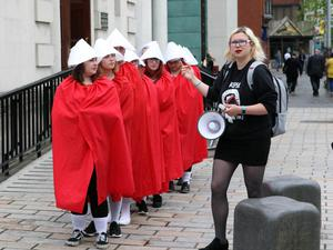 Taking abortion pills distributed at Belfast pro-choice rally may lead to arrest, warn police. Pic Freddie Parkinson Presseye.