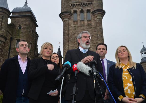 Sinn Féin's leadership team pictured talking to the media at Stormont Castle, in Belfast. Sinn Féin MLAs left their brief meeting with Secretary of State James Brokenshire.  Picture By: Arthur Allison: Pacemaker Press Belfast