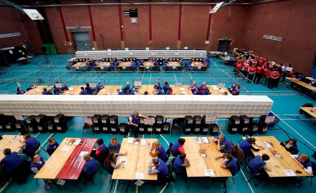Counting begins at the Seven Towers Leisure Centre, Ballymena, in Northern Ireland's Assembly election. Friday March 3, 2017.