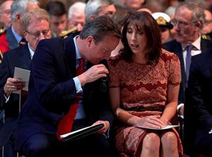 LONDON, ENGLAND - JUNE 30: Prime Minister David Cameron and wife Samantha speak before a Service on the Eve of the Centenary of the Battle of the Somme at Westminster Abbey on June 30, 2016 in London, United Kingdom. (Photo by Niklas Halle'n - WPA Pool/Getty Images)