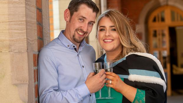 "It was double celebrations today for Queen's University graduate Stephanie Kirwan when her boyfriend of six years proposed just after her graduation ceremony.   Stephanie, who is from Crossmaglen, graduated with a degree in Criminology and Social Policy from the School of School of Social Sciences, Education and Social Work at Queen's University.  Donal Begley, also from Crossmaglen, got down on one knee to pop the question at the graduation garden party and Stephanie's fellow graduates cheered when she accepted the proposal.   Stephanie said: ""I am absolutely ecstatic and completely shocked and overwhelmed. It is so surreal and is an extra special day for me – one that I will never forget.""  Donal commented: ""I had planned the engagement for around four months as I didn't want to interfere with her studies, I knew she would be looking up wedding venues straight away! I just thought today was a perfect time for me to propose as it is such a special occasion for Stephanie."""