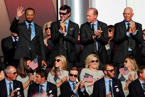 CHASKA, MN - SEPTEMBER 29:  Vice-captains Tiger Woods, Bubba Watson, Steve Stricker and Tom Lehman of the United States react during the 2016 Ryder Cup Opening Ceremony at Hazeltine National Golf Club on September 29, 2016 in Chaska, Minnesota.  (Photo by Streeter Lecka/Getty Images)