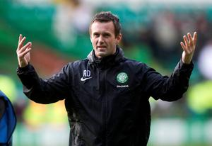 Celtic manager Ronny Deila celebrates at the end of the Scottish Premiership match at Celtic Park, Glasgow. PRESS ASSOCIATION Photo. Picture date: Sunday March 1, 2015. See PA story SOCCER Celtic. Photo credit should read: Jeff Holmes/PA Wire. RESTRICTIONS: EDITORIAL USE ONLY