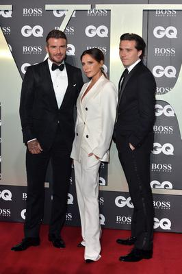 David Beckham, Victoria Beckham and their son Brooklyn Beckham attend the GQ Men Of The Year Awards 2019 at Tate Modern on September 03, 2019 in London, England. (Photo by Jeff Spicer/Getty Images)