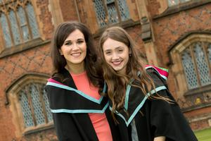 Claire McAlinney (left) and Nicola McNeice are first two students to graduate with a Masters in Food Science and Food Security from the Institute for Global Food Security from Queen's University Belfast.