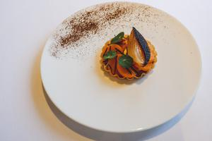 Cheese and onion tart with butternut squash and Périgord truffle